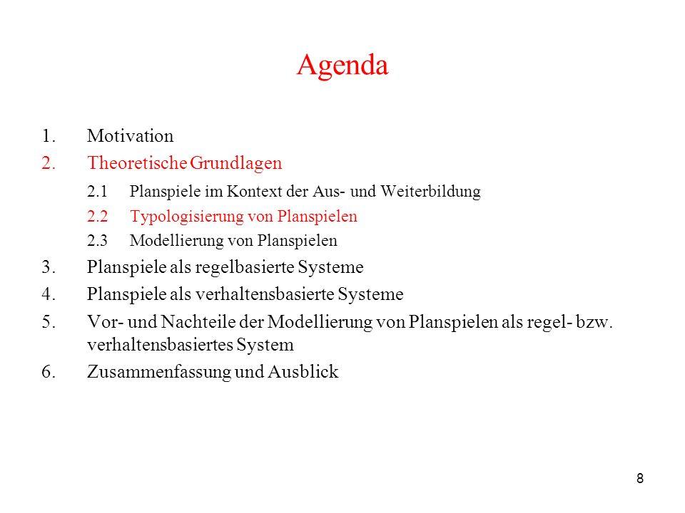 8 Agenda 1.Motivation 2.Theoretische Grundlagen 2.1 Planspiele im Kontext der Aus- und Weiterbildung 2.2 Typologisierung von Planspielen 2.3 Modellier