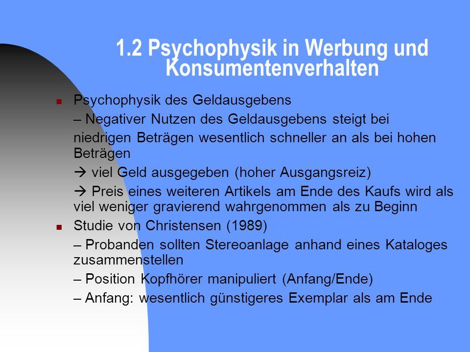 1.2 Psychophysik in Werbung und Konsumentenverhalten Psychophysik des Geldausgebens – Negativer Nutzen des Geldausgebens steigt bei niedrigen Beträgen