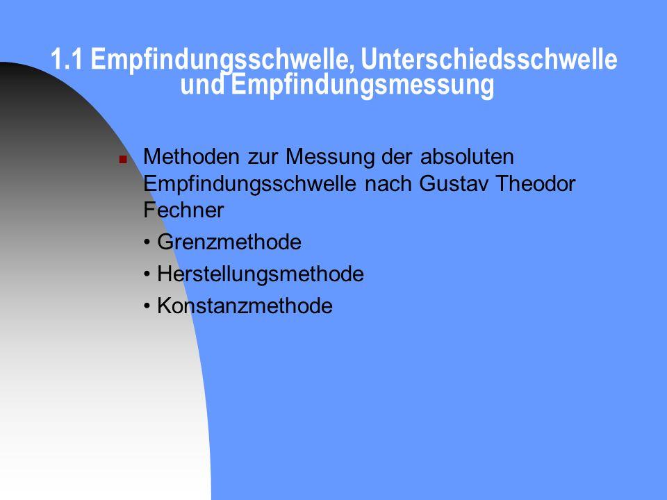 1.1 Empfindungsschwelle, Unterschiedsschwelle und Empfindungsmessung Methoden zur Messung der absoluten Empfindungsschwelle nach Gustav Theodor Fechne