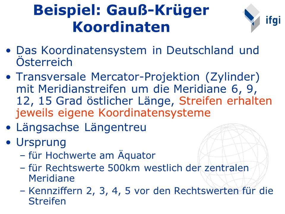 Beispiel: Gauß-Krüger Koordinaten Das Koordinatensystem in Deutschland und Österreich Transversale Mercator-Projektion (Zylinder) mit Meridianstreifen um die Meridiane 6, 9, 12, 15 Grad östlicher Länge, Streifen erhalten jeweils eigene Koordinatensysteme Längsachse Längentreu Ursprung –für Hochwerte am Äquator –für Rechtswerte 500km westlich der zentralen Meridiane –Kennziffern 2, 3, 4, 5 vor den Rechtswerten für die Streifen