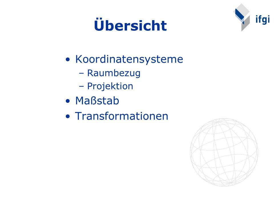 Übersicht Koordinatensysteme –Raumbezug –Projektion Maßstab Transformationen