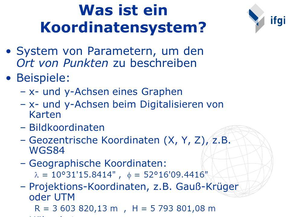 Was ist ein Koordinatensystem? System von Parametern, um den Ort von Punkten zu beschreiben Beispiele: –x- und y-Achsen eines Graphen –x- und y-Achsen