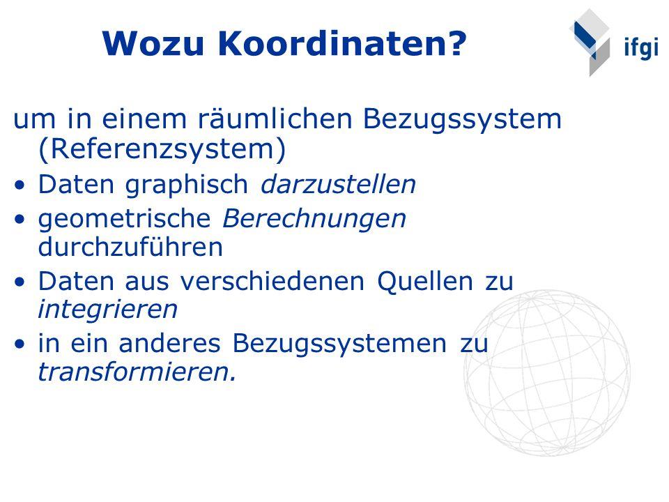 Wozu Koordinaten? um in einem räumlichen Bezugssystem (Referenzsystem) Daten graphisch darzustellen geometrische Berechnungen durchzuführen Daten aus