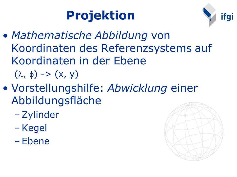Mathematische Abbildung von Koordinaten des Referenzsystems auf Koordinaten in der Ebene () -> (x, y) Vorstellungshilfe: Abwicklung einer Abbildungsfläche –Zylinder –Kegel –Ebene Projektion