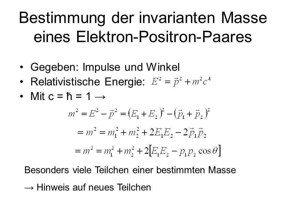 Bestimmung der invarianten Masse eines Elektron-Positron-Paares Gegeben: Impulse und Winkel Relativistische Energie: Mit c = ħ = 1 Besonders viele Tei