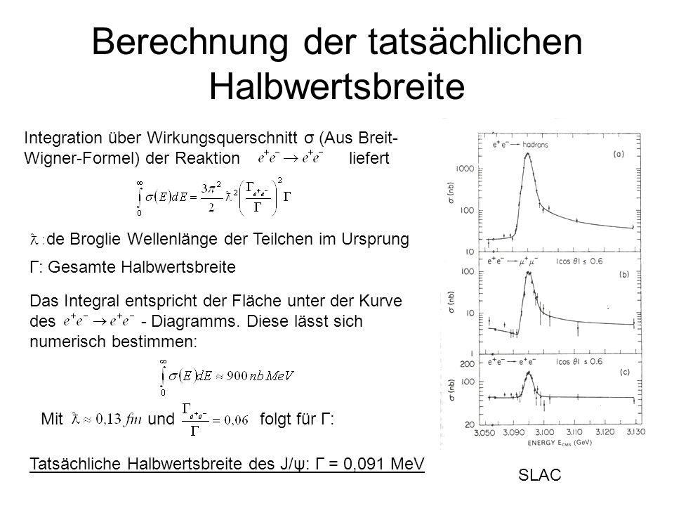 Berechnung der tatsächlichen Halbwertsbreite Integration über Wirkungsquerschnitt σ (Aus Breit- Wigner-Formel) der Reaktion liefert SLAC Das Integral