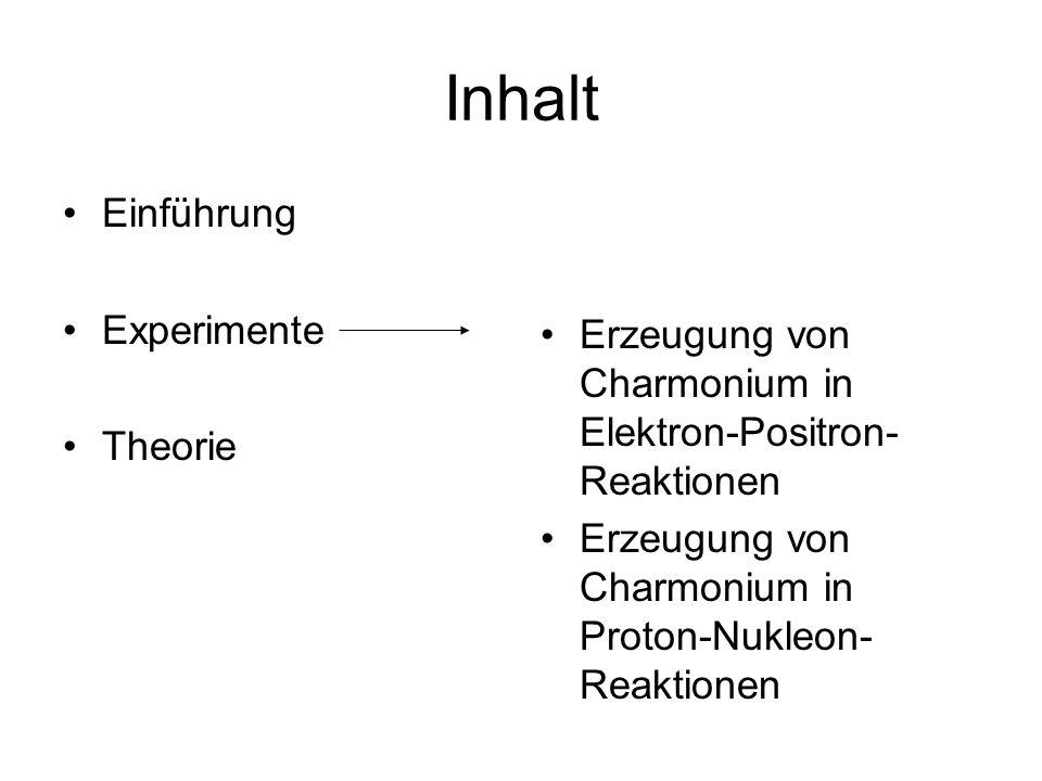 Inhalt Einführung Experimente Theorie Erzeugung von Charmonium in Elektron-Positron- Reaktionen Erzeugung von Charmonium in Proton-Nukleon- Reaktionen