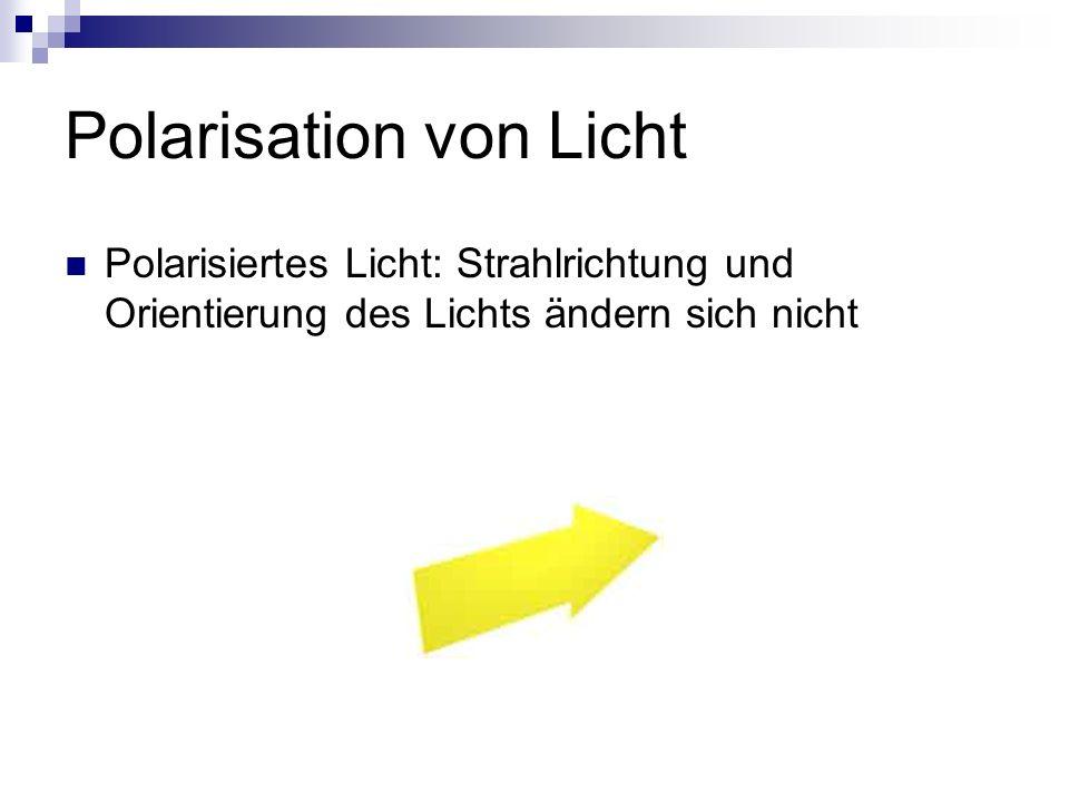 Polarisation von Licht Polarisiertes Licht: Strahlrichtung und Orientierung des Lichts ändern sich nicht