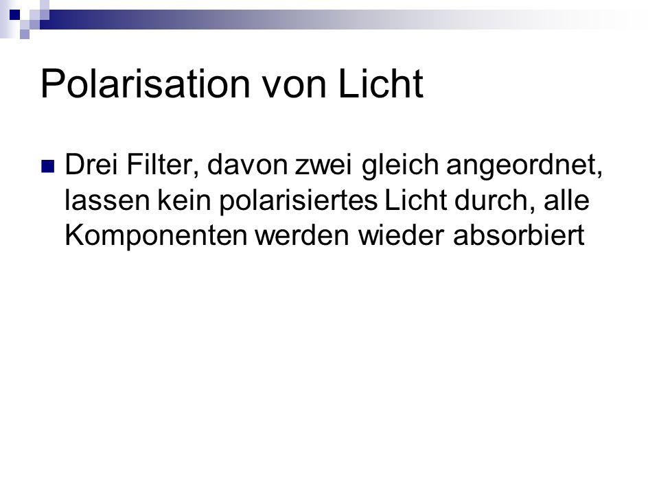Polarisation von Licht Drei Filter, davon zwei gleich angeordnet, lassen kein polarisiertes Licht durch, alle Komponenten werden wieder absorbiert