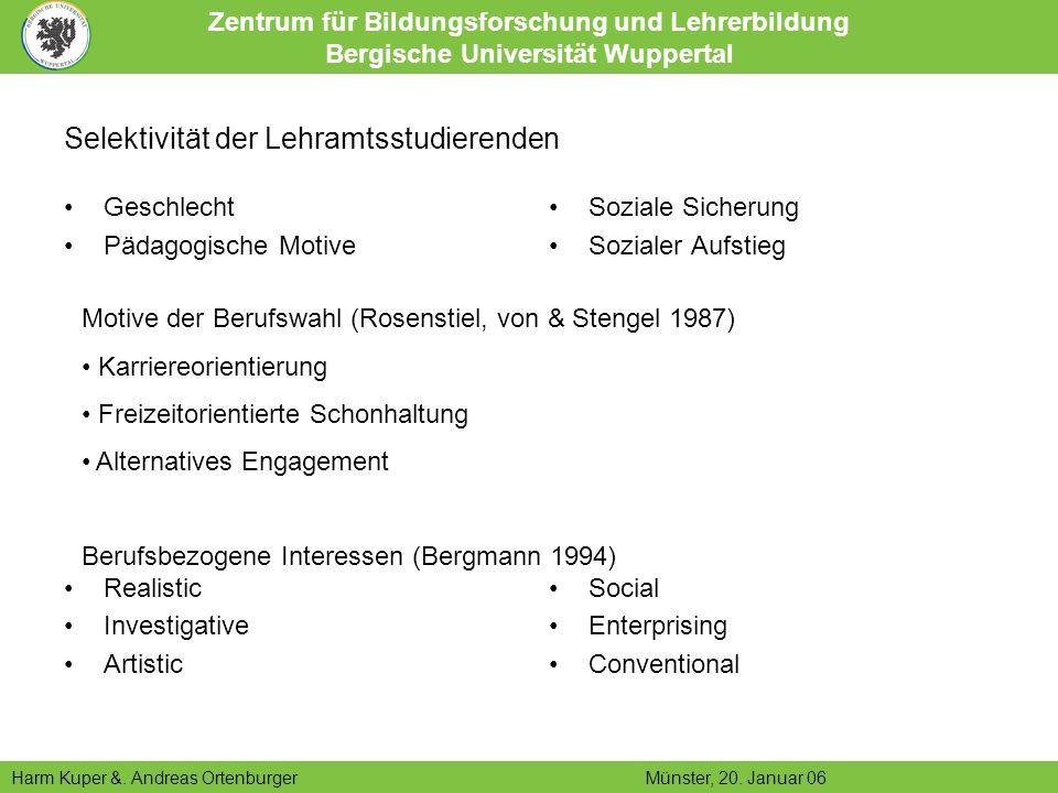 Zentrum für Bildungsforschung und Lehrerbildung Bergische Universität Wuppertal Harm Kuper &.