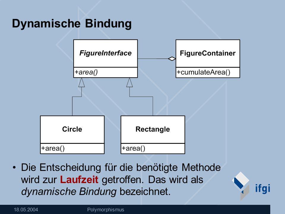 18.05.2004Polymorphismus Dynamische Bindung Die Entscheidung für die benötigte Methode wird zur Laufzeit getroffen.
