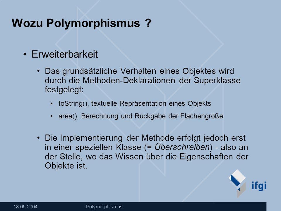 18.05.2004Polymorphismus Wozu Polymorphismus .