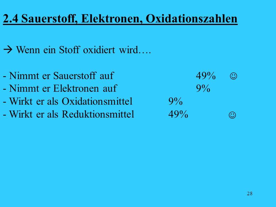 28 2.4 Sauerstoff, Elektronen, Oxidationszahlen Wenn ein Stoff oxidiert wird…. - Nimmt er Sauerstoff auf49% - Nimmt er Elektronen auf9% - Wirkt er als