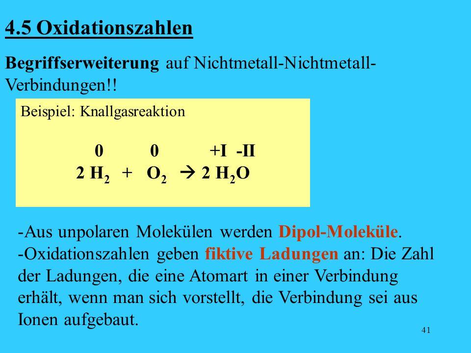 41 4.5 Oxidationszahlen Begriffserweiterung auf Nichtmetall-Nichtmetall- Verbindungen!! Beispiel: Knallgasreaktion 0 0 +I -II 2 H 2 + O 2 2 H 2 O - Au