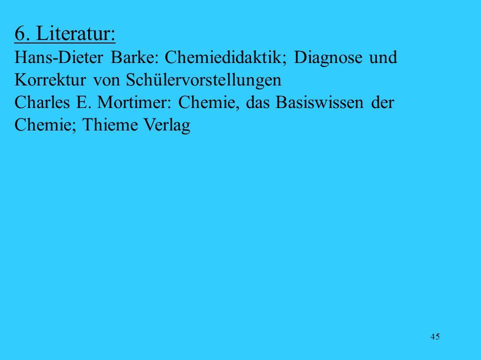 45 6. Literatur: Hans-Dieter Barke: Chemiedidaktik; Diagnose und Korrektur von Schülervorstellungen Charles E. Mortimer: Chemie, das Basiswissen der C