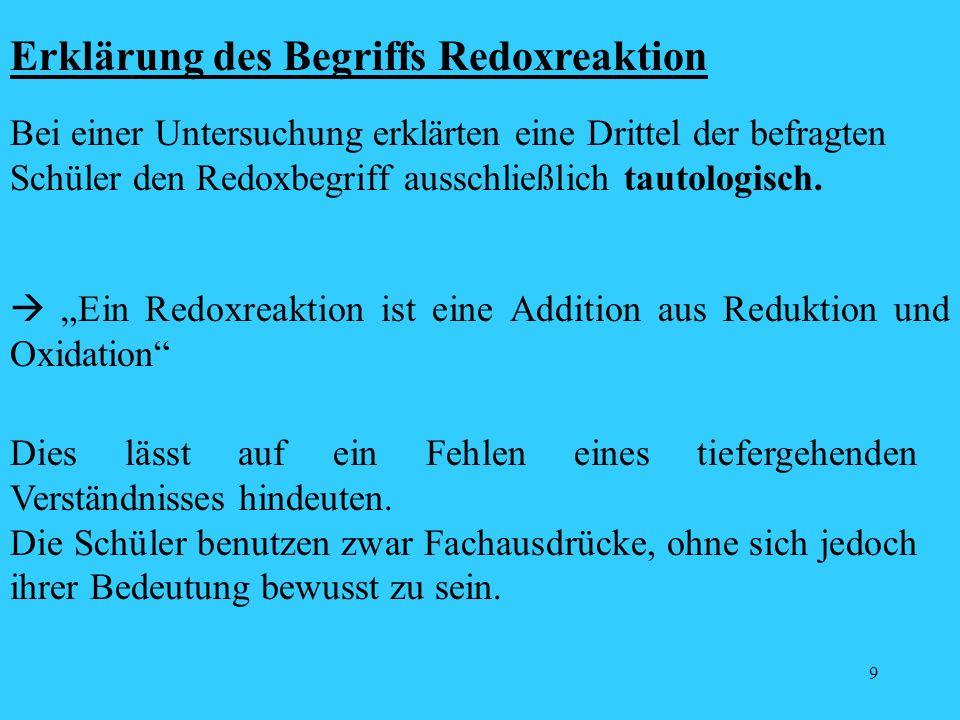 9 Erklärung des Begriffs Redoxreaktion Bei einer Untersuchung erklärten eine Drittel der befragten Schüler den Redoxbegriff ausschließlich tautologisc