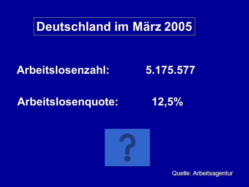 Deutschland im März 2005 Arbeitslosenzahl: 5.175.577 Arbeitslosenquote: 12,5% Quelle: Arbeitsagentur