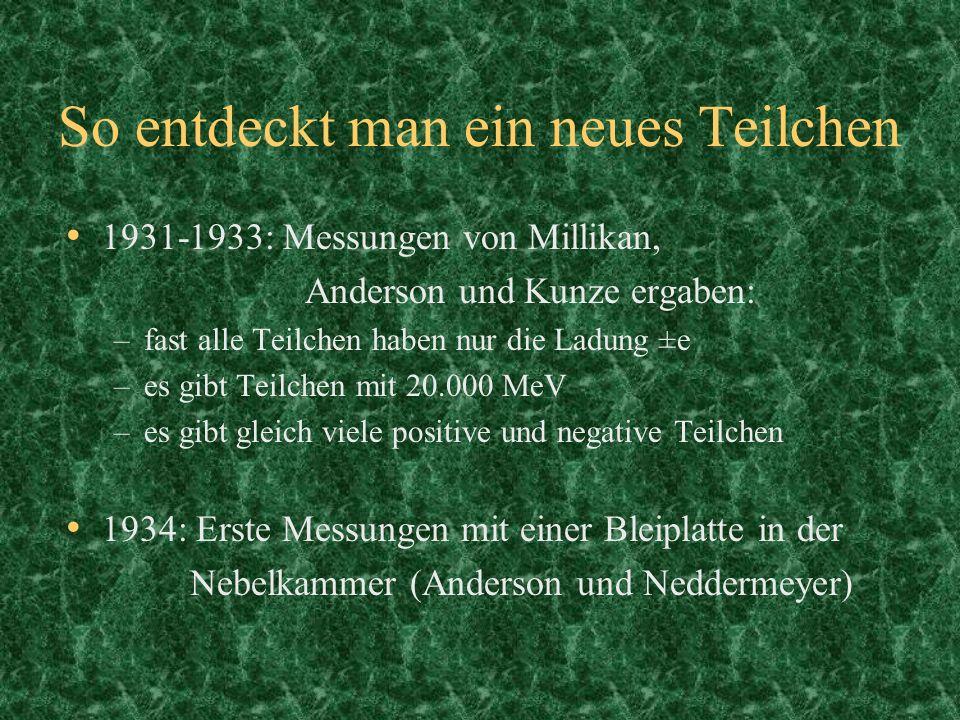 So entdeckt man ein neues Teilchen 1931-1933: Messungen von Millikan, Anderson und Kunze ergaben: –fast alle Teilchen haben nur die Ladung ±e –es gibt