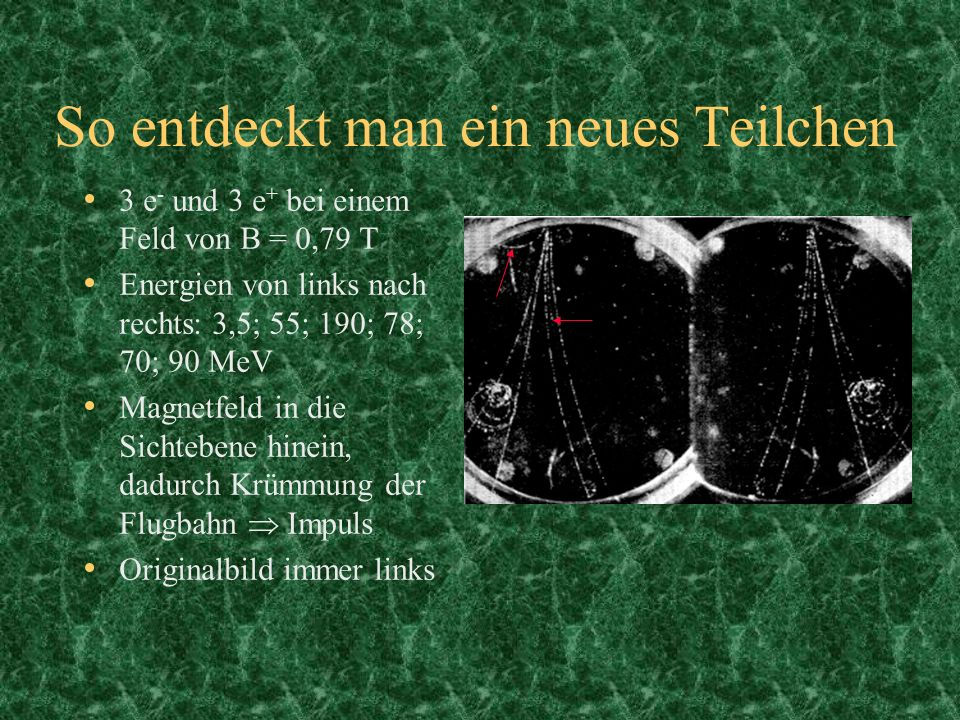 So entdeckt man ein neues Teilchen 3 e - und 3 e + bei einem Feld von B = 0,79 T Energien von links nach rechts: 3,5; 55; 190; 78; 70; 90 MeV Magnetfe