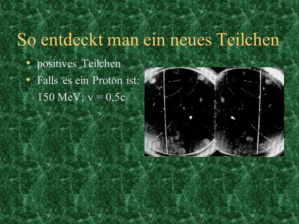 So entdeckt man ein neues Teilchen positives Teilchen Falls es ein Proton ist: 150 MeV; v = 0,5c