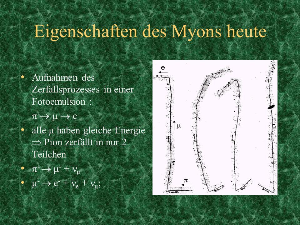 Eigenschaften des Myons heute Aufnahmen des Zerfallsprozesses in einer Fotoemulsion : e alle µ haben gleiche Energie Pion zerfällt in nur 2 Teilchen -