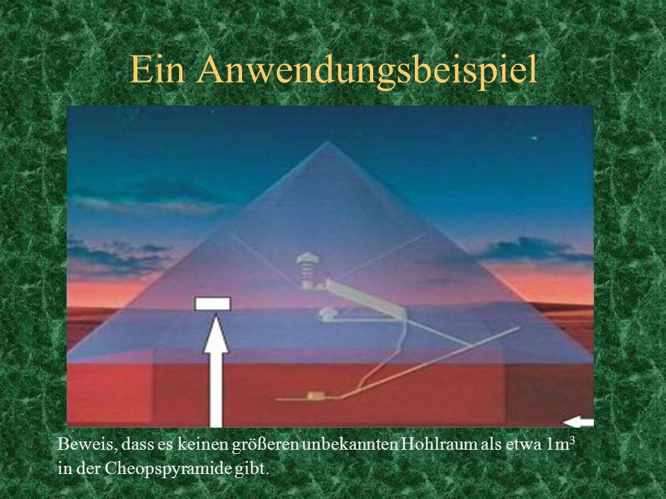 Ein Anwendungsbeispiel Beweis, dass es keinen größeren unbekannten Hohlraum als etwa 1m 3 in der Cheopspyramide gibt.