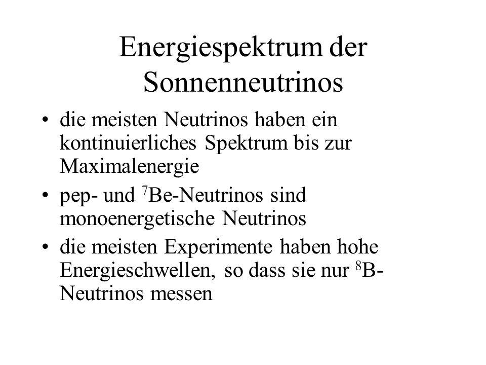 die meisten Neutrinos haben ein kontinuierliches Spektrum bis zur Maximalenergie pep- und 7 Be-Neutrinos sind monoenergetische Neutrinos die meisten Experimente haben hohe Energieschwellen, so dass sie nur 8 B- Neutrinos messen