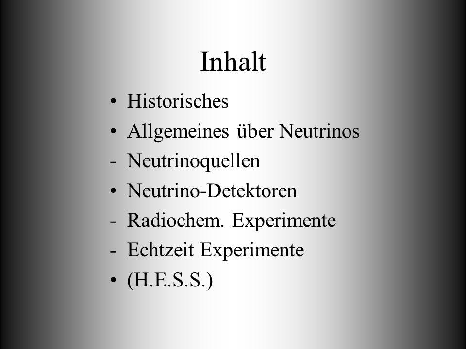 Inhalt Historisches Allgemeines über Neutrinos -Neutrinoquellen Neutrino-Detektoren -Radiochem. Experimente -Echtzeit Experimente (H.E.S.S.)