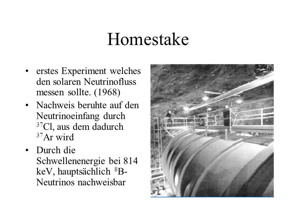 Homestake erstes Experiment welches den solaren Neutrinofluss messen sollte. (1968) Nachweis beruhte auf den Neutrinoeinfang durch 37 Cl, aus dem dadu