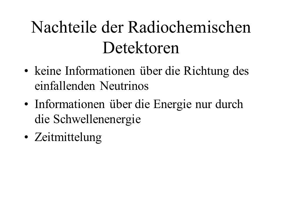 Nachteile der Radiochemischen Detektoren keine Informationen über die Richtung des einfallenden Neutrinos Informationen über die Energie nur durch die Schwellenenergie Zeitmittelung