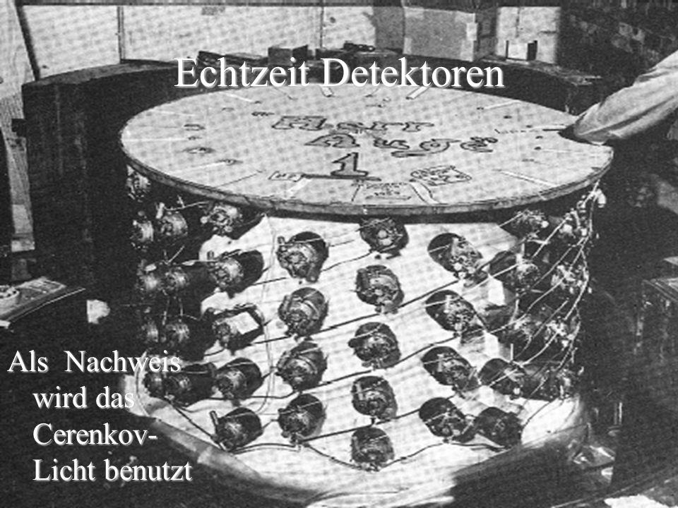 Echtzeit Detektoren Als Nachweis wird das Cerenkov- Licht benutzt