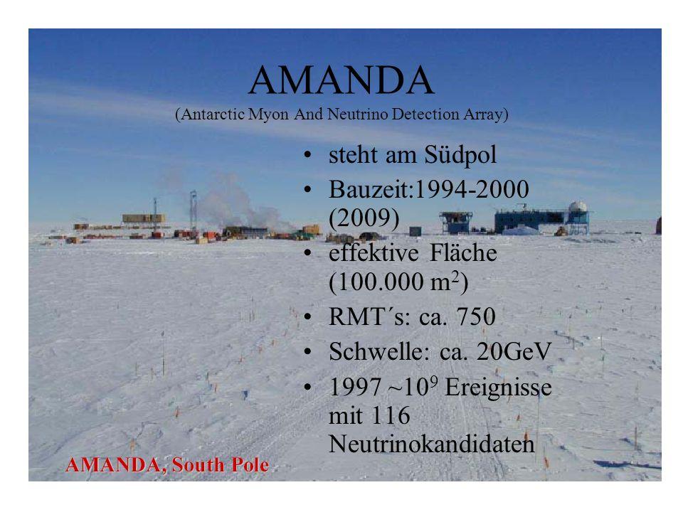 AMANDA (Antarctic Myon And Neutrino Detection Array) steht am Südpol Bauzeit:1994-2000 (2009) effektive Fläche (100.000 m 2 ) RMT´s: ca.