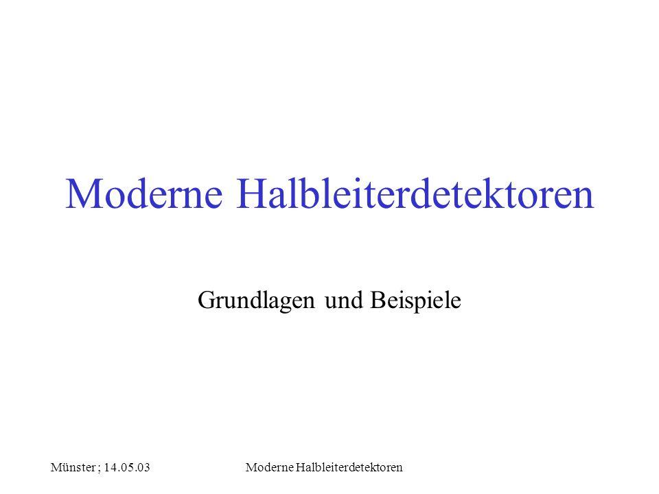 Münster ; 14.05.03Moderne Halbleiterdetektoren Energiebänderstruktur von Halbleitern Leiterband Energielücke Valenzband Elektronen sind an ihre Gitteratome gebunden Elektronen sind hier nicht vorhanden ( verbotener Bereich ) Elektronen können sich frei bewegen