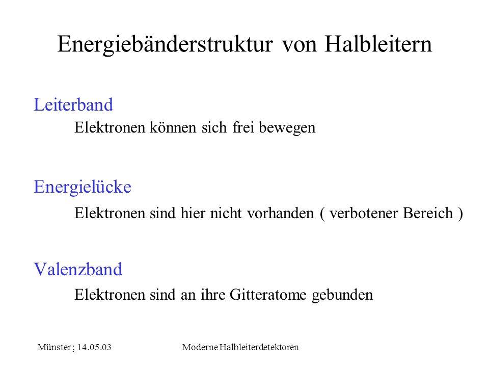 Münster ; 14.05.03Moderne Halbleiterdetektoren Energiebänderstruktur von Halbleitern Leiterband Energielücke Valenzband Elektronen sind an ihre Gitter