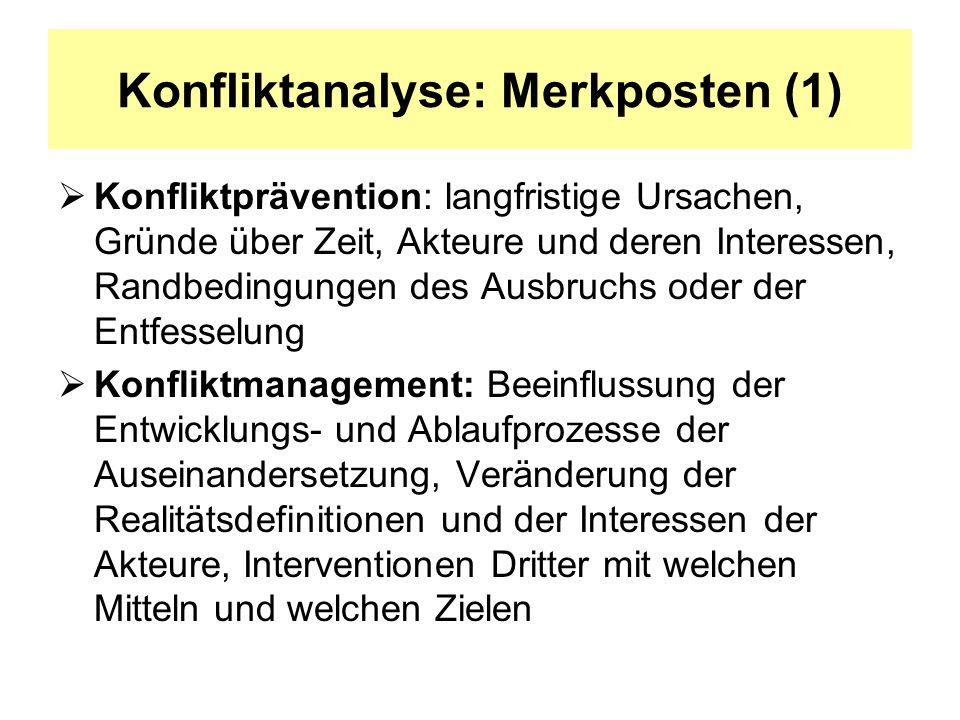 Konfliktanalyse: Merkposten (2) Konfliktbeilegung bzw.
