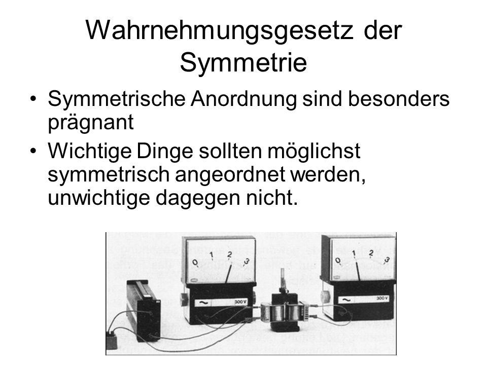 Wahrnehmungsgesetz der Symmetrie Symmetrische Anordnung sind besonders prägnant Wichtige Dinge sollten möglichst symmetrisch angeordnet werden, unwich