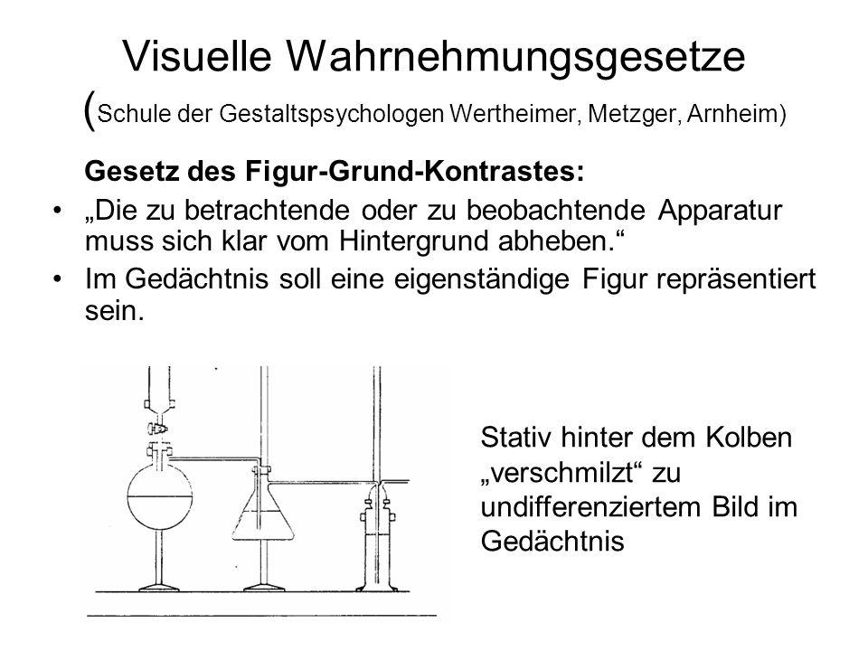 Visuelle Wahrnehmungsgesetze ( Schule der Gestaltspsychologen Wertheimer, Metzger, Arnheim) Gesetz des Figur-Grund-Kontrastes: Die zu betrachtende ode