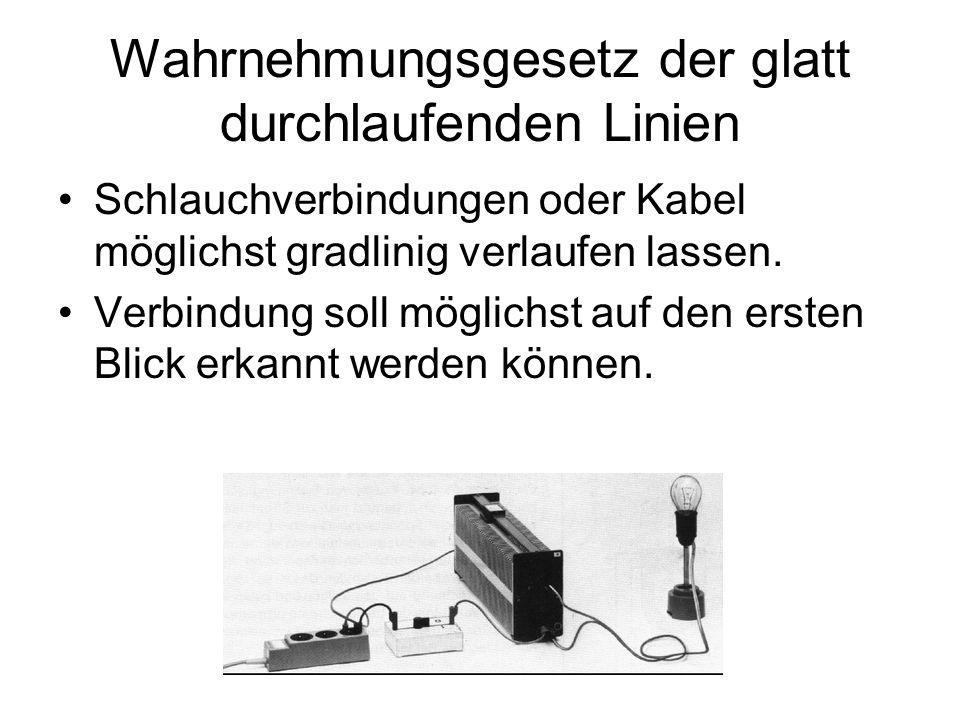 Wahrnehmungsgesetz der glatt durchlaufenden Linien Schlauchverbindungen oder Kabel möglichst gradlinig verlaufen lassen. Verbindung soll möglichst auf