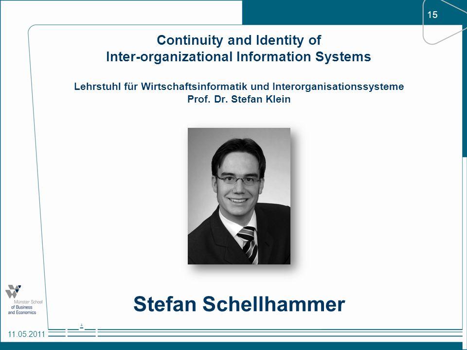 15 11.05.2011 Continuity and Identity of Inter-organizational Information Systems Lehrstuhl für Wirtschaftsinformatik und Interorganisationssysteme Pr