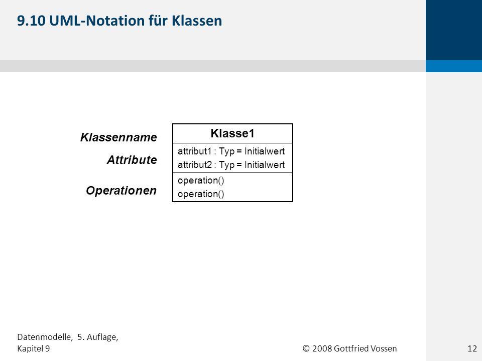 © 2008 Gottfried Vossen operation() attribut1 : Typ = Initialwert attribut2 : Typ = Initialwert Klasse1 Klassenname Attribute Operationen 9.10 UML-Not