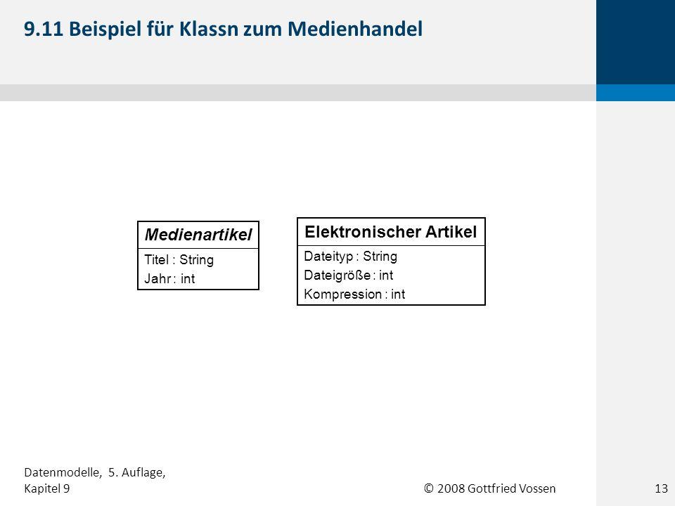 © 2008 Gottfried Vossen Titel : String Jahr : int Medienartikel Dateityp : String Dateigröße : int Kompression : int Elektronischer Artikel 9.11 Beisp