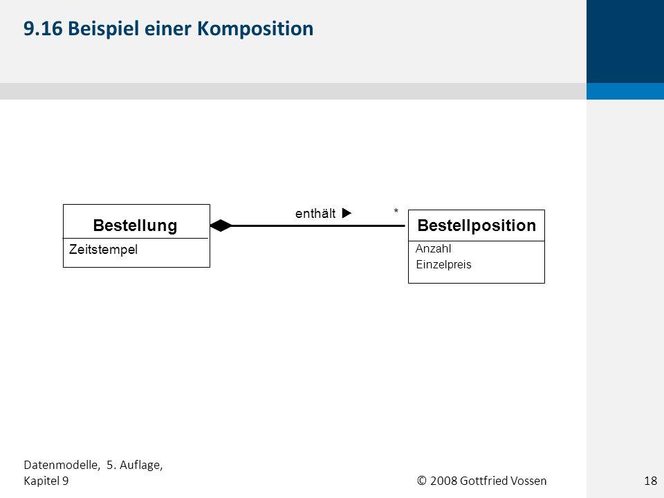 © 2008 Gottfried Vossen * enthält Zeitstempel Bestellung Anzahl Einzelpreis Bestellposition 9.16 Beispiel einer Komposition 18 Datenmodelle, 5. Auflag