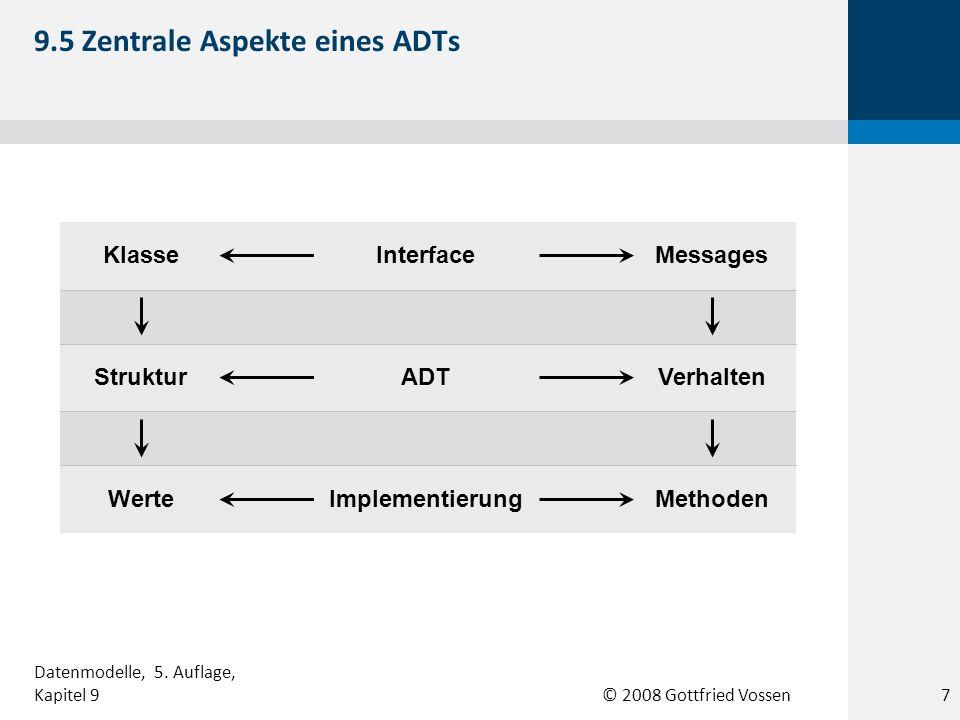 © 2008 Gottfried Vossen * enthält Zeitstempel Bestellung Anzahl Einzelpreis Bestellposition 9.16 Beispiel einer Komposition 18 Datenmodelle, 5.