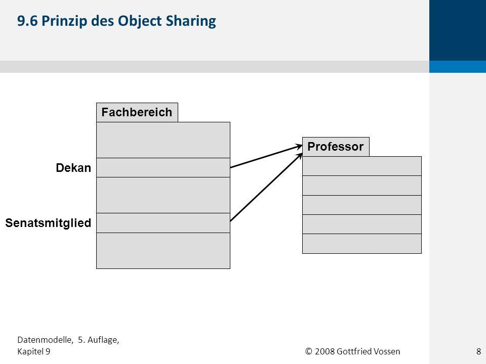 © 2008 Gottfried Vossen Titel : String Jahr : int Medienartikel Dateityp : String Dateigröße : int Kompression : int Elektronischer Artikel Physischer Artikel 9.17 Beispiel einer IS-A-Beziehung 19 Datenmodelle, 5.