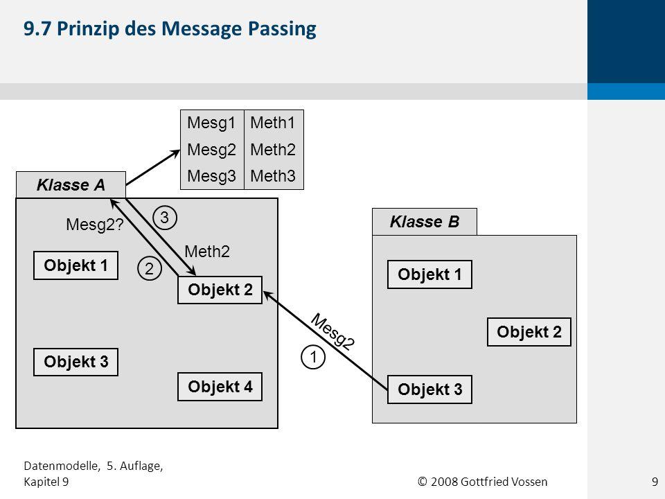 © 2008 Gottfried Vossen KundeSach- bearbeiter Bestellung tätigen Bestellung stornieren Bestellung abwickeln 9.18 Beispiel eines Use-Case-Diagramms 20 Datenmodelle, 5.