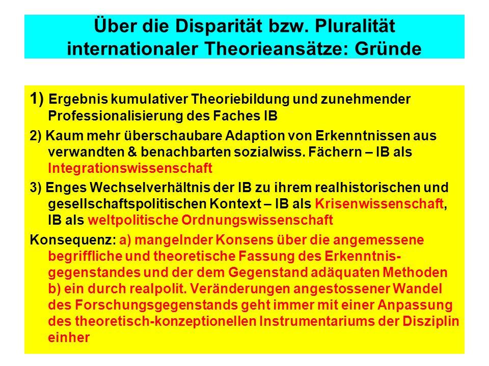 Über die Disparität bzw. Pluralität internationaler Theorieansätze: Gründe 1) Ergebnis kumulativer Theoriebildung und zunehmender Professionalisierung