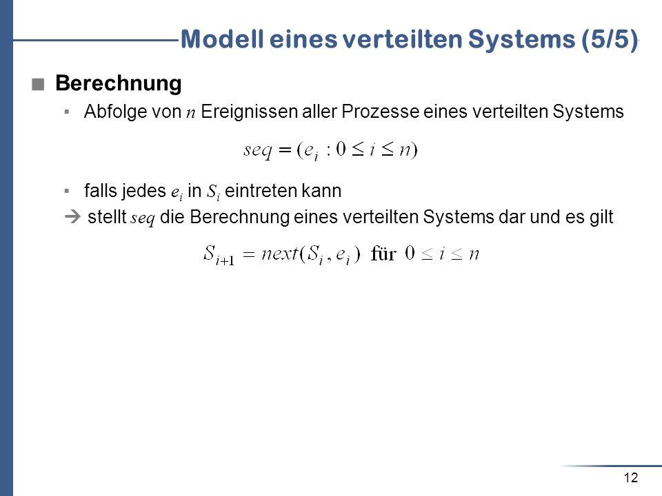 12 Modell eines verteilten Systems (5/5) Berechnung Abfolge von n Ereignissen aller Prozesse eines verteilten Systems falls jedes e i in S i eintreten
