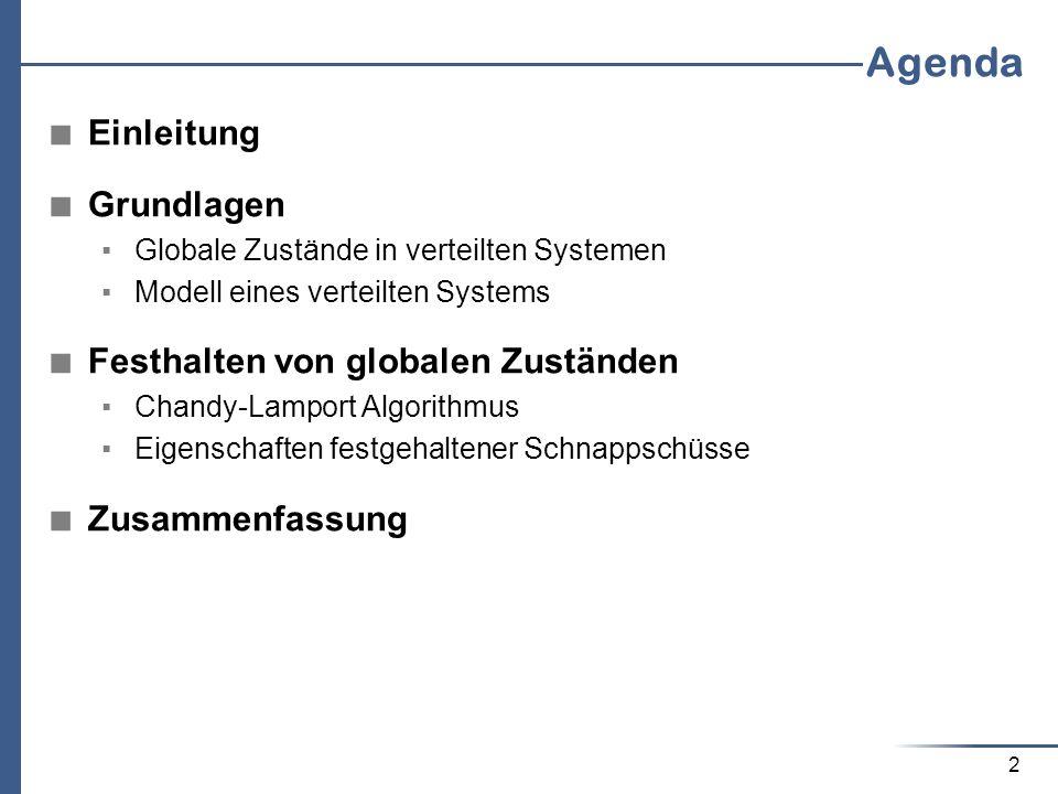 3 Agenda Einleitung Grundlagen Globale Zustände in verteilten Systemen Modell eines verteilten Systems Festhalten von globalen Zuständen Chandy-Lamport Algorithmus Eigenschaften festgehaltener Schnappschüsse Zusammenfassung