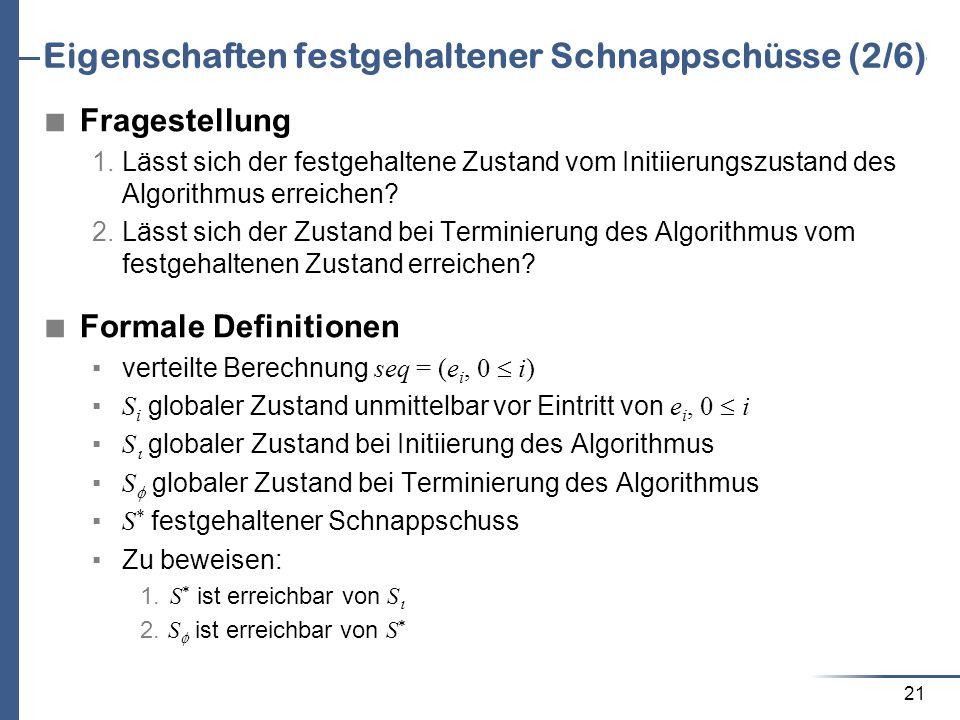 21 Eigenschaften festgehaltener Schnappschüsse (2/6) Fragestellung 1. Lässt sich der festgehaltene Zustand vom Initiierungszustand des Algorithmus err