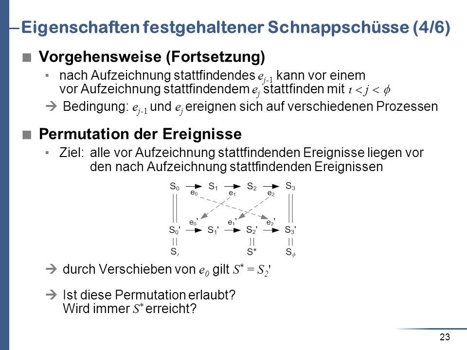 23 Eigenschaften festgehaltener Schnappschüsse (4/6) Vorgehensweise (Fortsetzung) nach Aufzeichnung stattfindendes e j-1 kann vor einem vor Aufzeichnu
